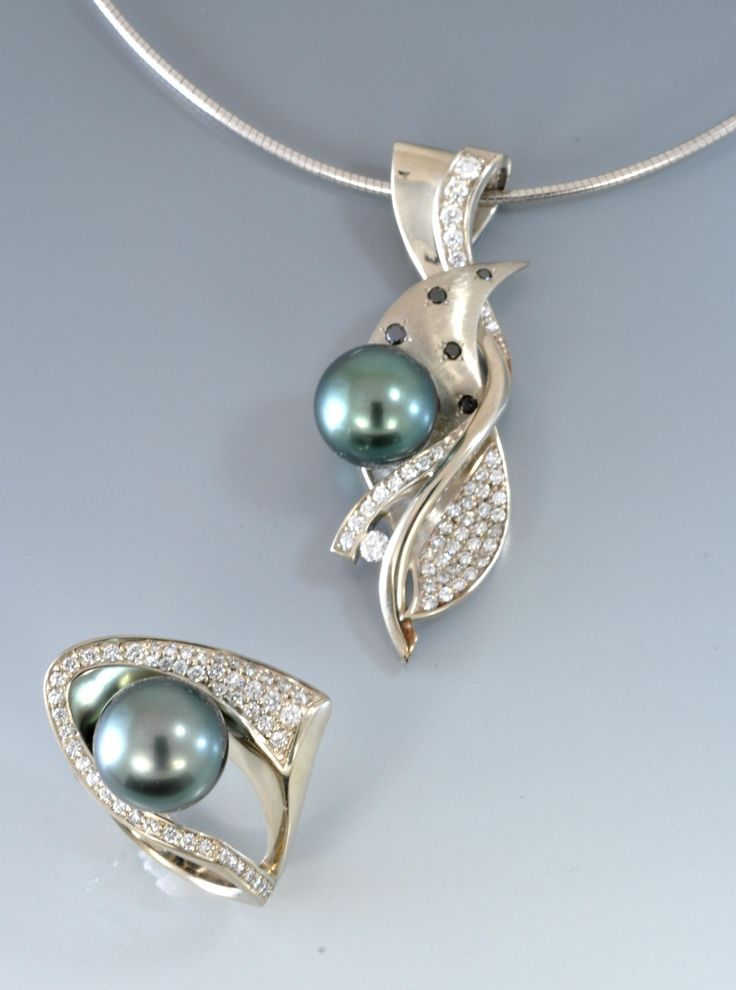 Black Tahitian #pearl with white and black diamonds in white gold by Alex Gulko