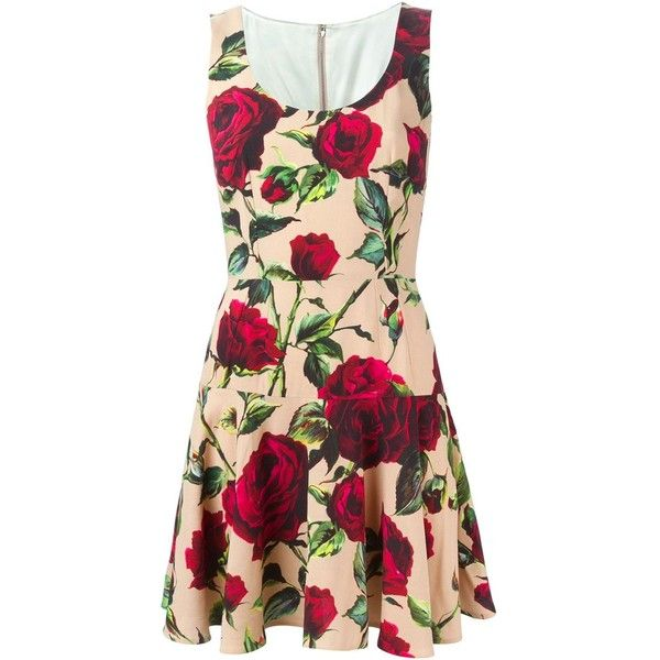 Dolce & Gabbana rose print dress ($1,010) ❤ liked on Polyvore featuring dresses, multicolour, scoop neck sleeveless dress, scoopneck dress, multicolor dress, dolce&gabbana and back zipper dress