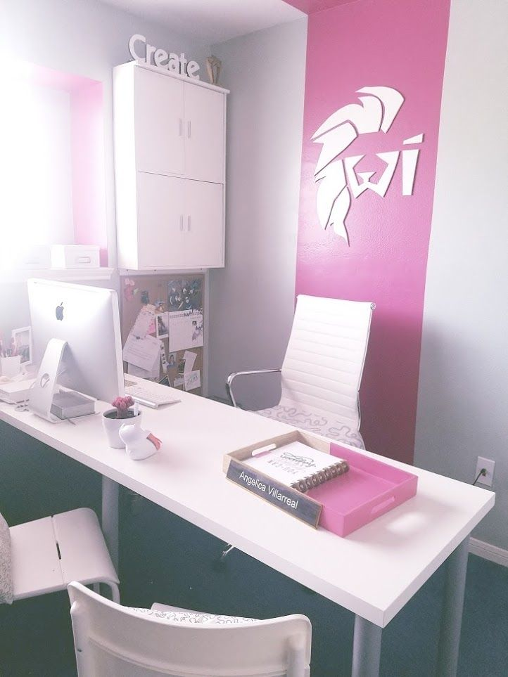 White and pink home office