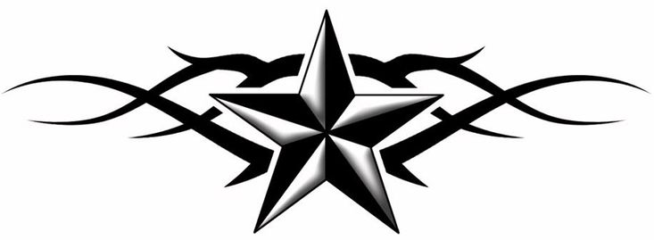 Black Tribal And Nautical Star Tattoo Design