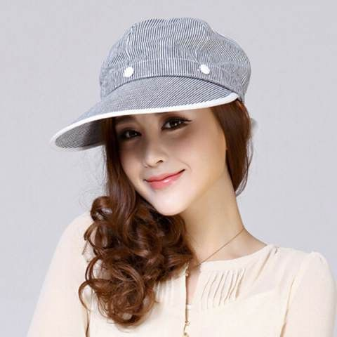 Women striped sun protection hat for summer casual riding sun visor hats