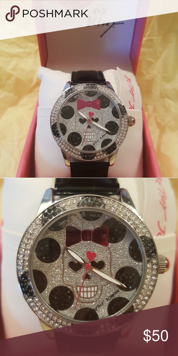 Betsey Johnson Crystal Watch Skull Bow BETSEY JOHNSON BLACK DOT CRYSTAL SET ROUND CASE/BEZEL   SILVER -TONE SKULL FACE BLACK BAND WATCH.  (NIB) Plastic still on face. Never been out of box.  Watch Black Strap Crystal Dial Skull Bow  ** Style # BJ000560-03 - Retail $69 + Tax Betsey Johnson Accessories Watches