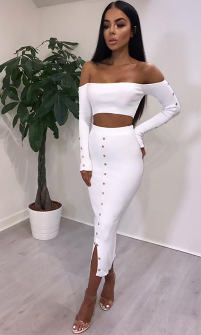 So Sultry Long Sleeve Off The Shoulder Ribbed Button Crop Top Bodycon Two Piece Casual Midi Dress Sold Out Short Sleeve Mini Dress Two Piece Dress Midi Dress Casual