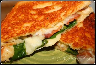 Pepper Jack, Bacon, Spinach Grilled Cheese on Garlic Butter Texas Toast