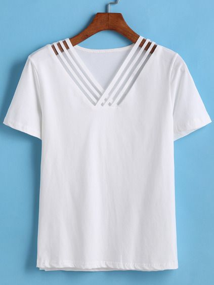 V Neck Hollow T-shirt