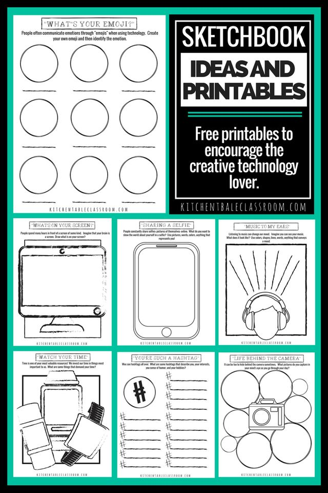 Sketchbook Ideas and Printables for the Technology Lover