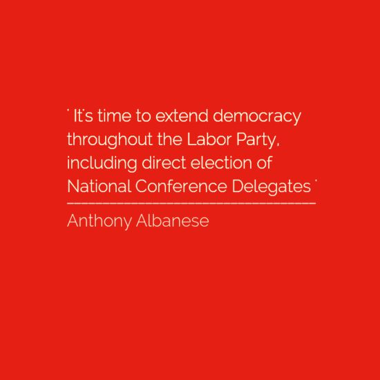 IF THE LABOR PARTY DOES NOT CONTINUE WITH ITS DEMOCRATISATION IT WILL BE SIGNING ITS END INTO POLITICAL OBLIVION. WE MAY NEED TO CONSIDER CREATING A NEW LABOR PARTY TO SPOUSE THE ETERNAL LIGHT OF LABOR VALUES. FOR IT WE REQUIRE THE RANK AND FILE LEADER CHOICE : ANTHONY ALBANESE