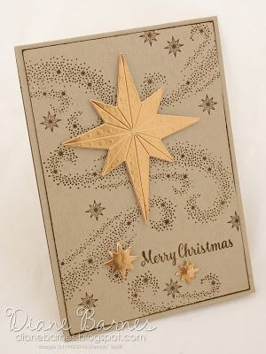Christmas card using Stampin Up Star of light stamps & Starlight die discount bundle. Quick & easy minumum supply card. By Di Barnes #colourmehappy