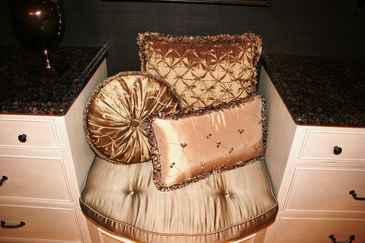 Custom silk pillows for a master bath.