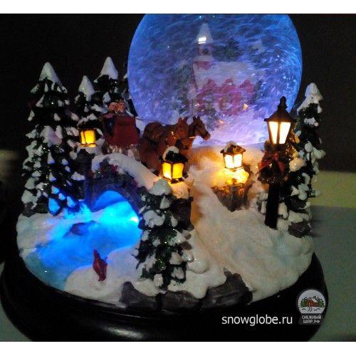 Стеклянный снежный шар со снегом и блестками внутри - Интернет-магазин снежных шаров | По дороге в Новый год - Купить водяные новогодние шары,  сувениры, стеклянные шарики - с доставкой по Москве, России и СНГ | Все шарики - По дороге в Новый год - 3800.00руб.