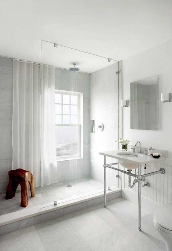 Clean and modern with straight lines. A white bathroom for a minimalist