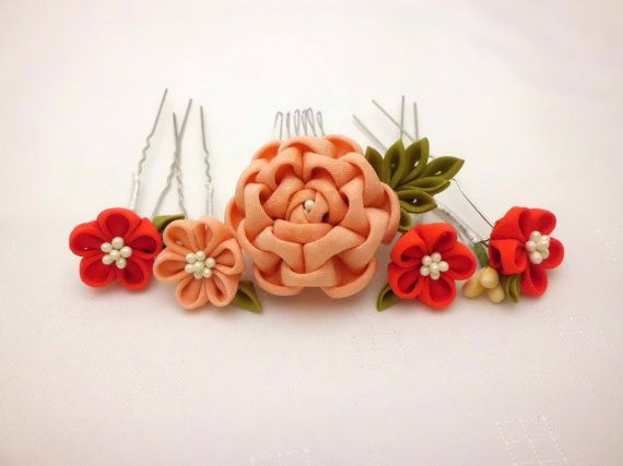 Flower headpiece set, Tsumami kanzashi, Coral Camellia hair comb, Scarlet coral flower hair stick, Upcycled kimono, Fabric flower, OOAK