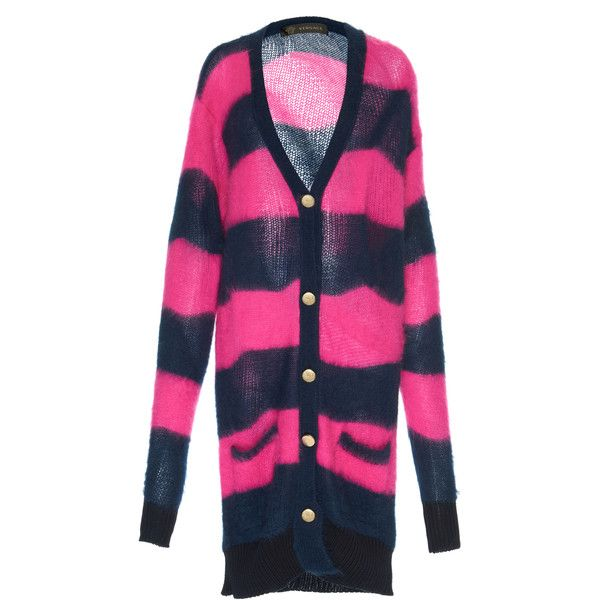 Versace Multicolored Cardigan (4.060 BRL) ❤ liked on Polyvore featuring tops, cardigans, stripe, extra long cardigan, colorful striped cardigan, cardigan top, multi colored cardigan and multi color cardigan