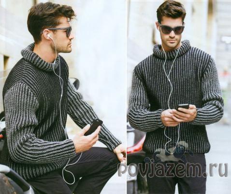 Двухцветная английская резинка, мужской свитер спицами