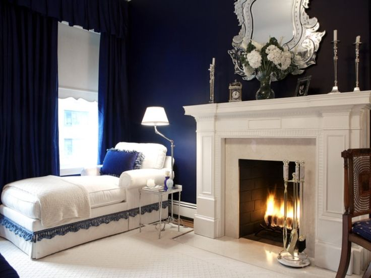 navy blue master bedroom design decor ideas combined with white color with fireplace