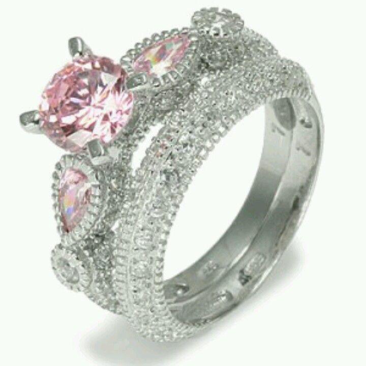 pink diamond vintage wedding ring - Vintage Wedding Ring Set