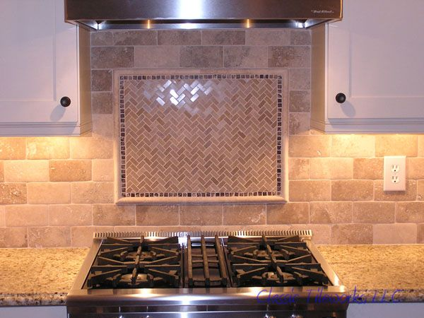 They chose this 3x6 travertine tile to install in a brick pattern (also  known as subway pattern or sub