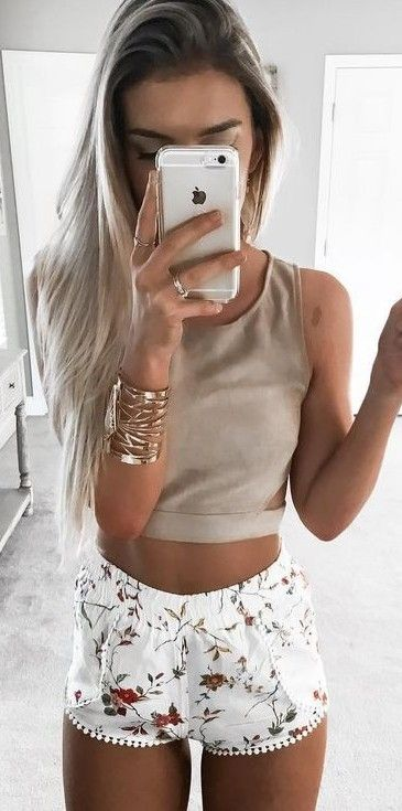 #summer #young #outfits |  Beige Crop + Floral Shorts