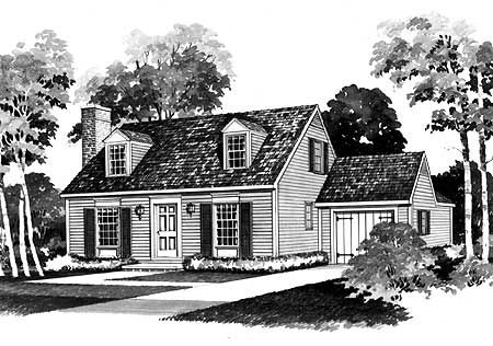 Economical home plan with great appeal cape cod 2 for Cape cod house plans with attached garage