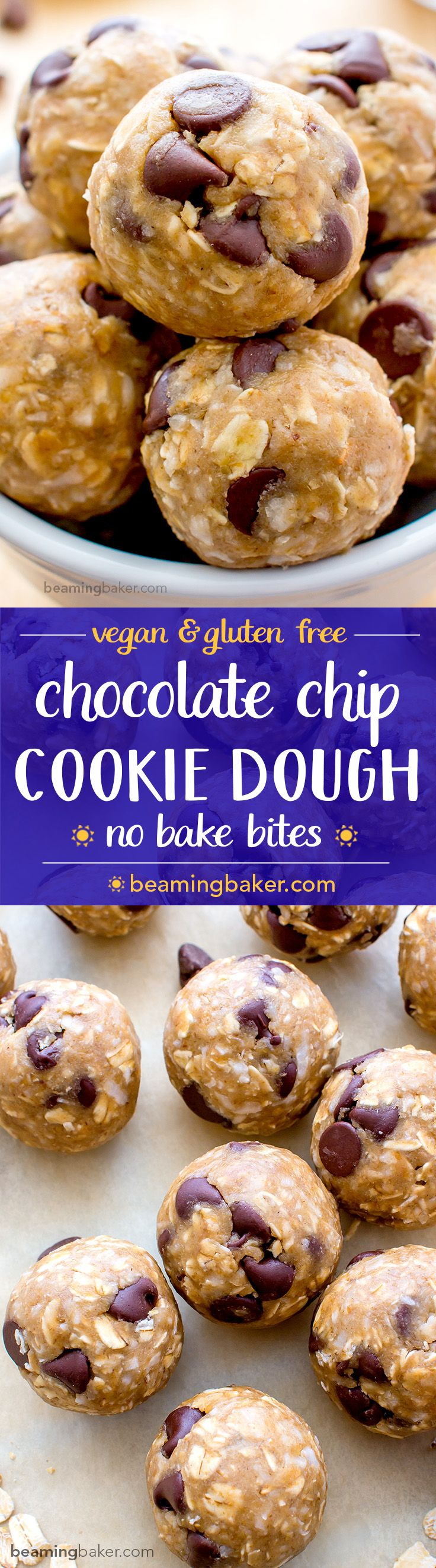 Chocolate Chip Cookie Dough Bites (V+GF): An easy, guilt-free recipe for seriously delicious chocolate chip cookie dough bites. BEAMINGBAKER.COM #Vegan #GlutenFree (Coconut Butter Egg Free)