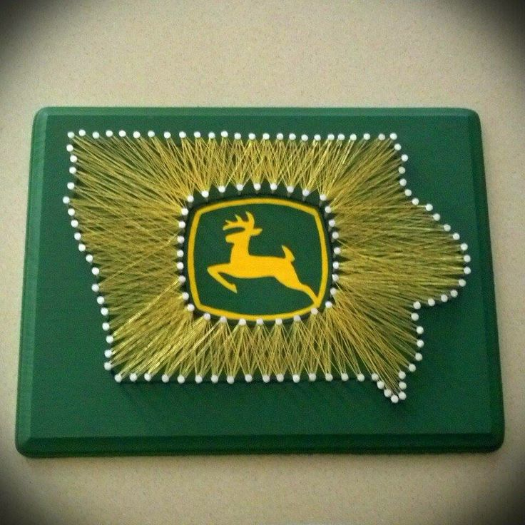John Deere String Art!! Visit my Etsy page if you would like a custom made string art of your favorite place! State String Art, Iowa, John Deere, Farm, Tractors