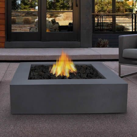 Lovely Mezzo Square Fire Table   Grey