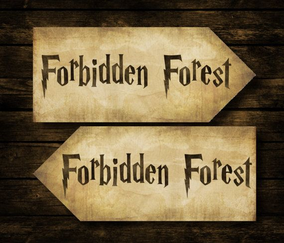 Forbidden Forest Harry Potter Wedding Sign & By