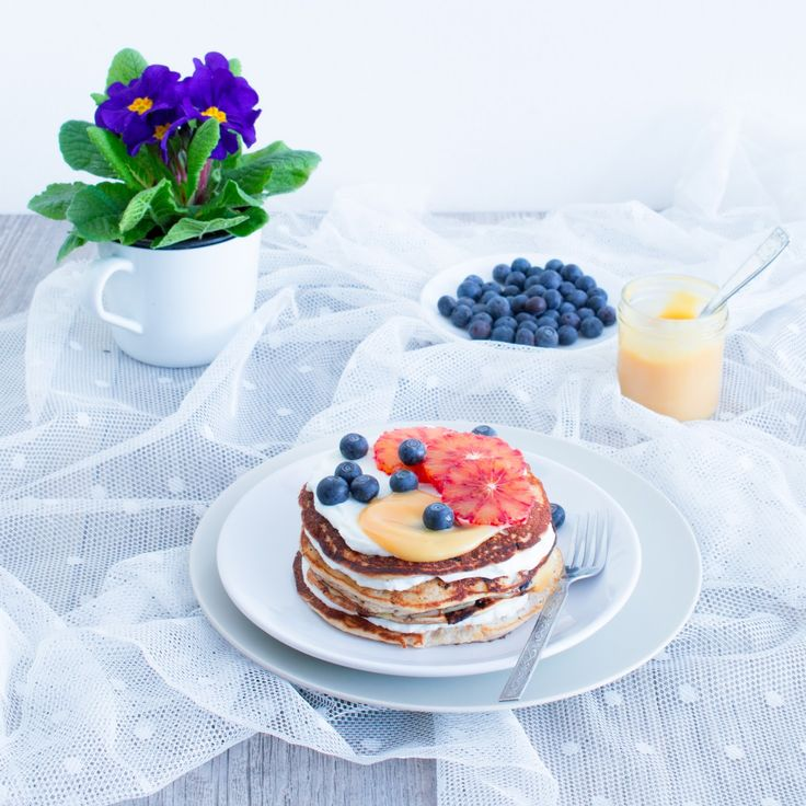 Blueberry Ricotta Buckwheat Pancakes with Blood Orange curd and Skyr