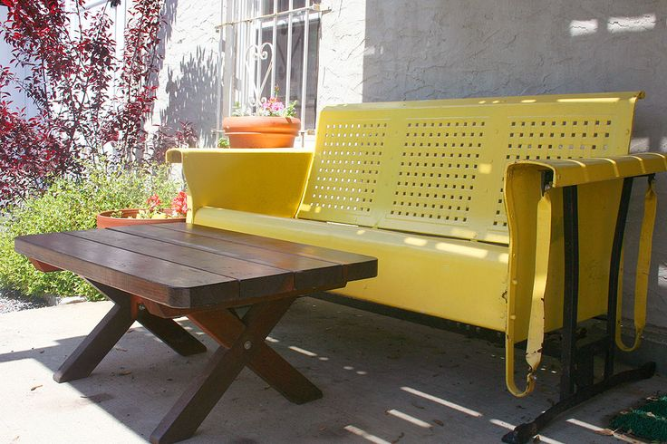 (kwestad) Tags: bench table outdoor furniture patio castiron redwood glider midcentury
