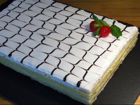 Receta Tarta o pastel milhojas Napoleón - Recetas de cocina, paso a paso, tutorial - YouTube