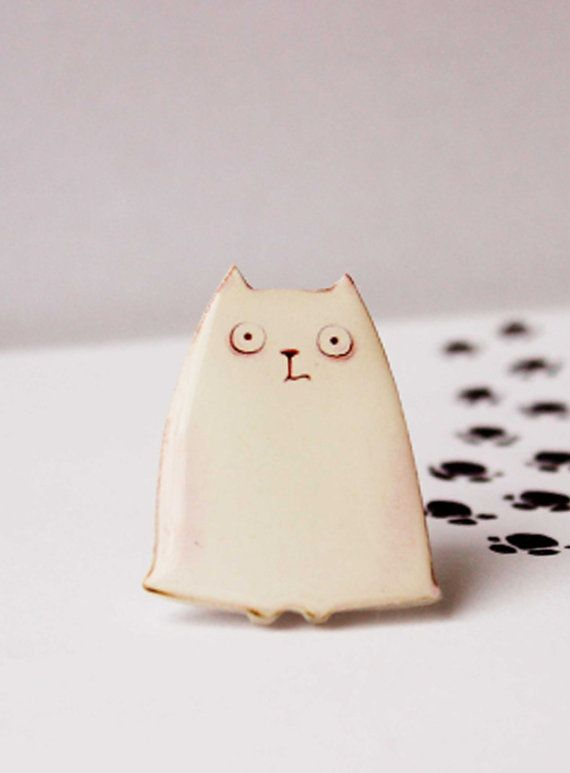 """Free shipping White Cat animal brooch animal pins Cat jewelry Clay cat pin""""The white cat"""" (0001)"""