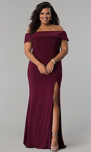 5e137276c83 Long Off-the-Shoulder Plus-Size Faviana Prom Dress in 2018