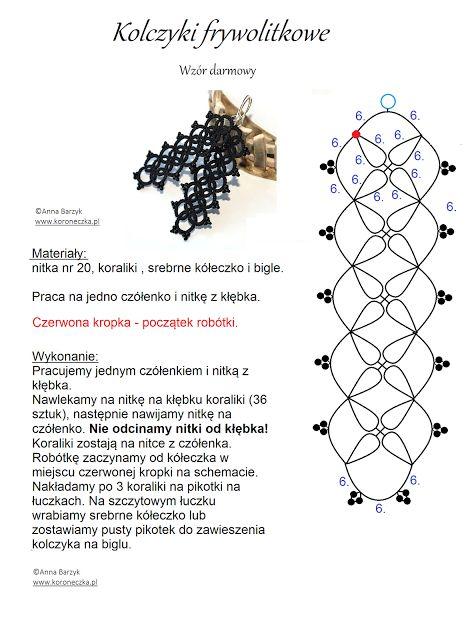 Koroneczka - frywolitki i ceramika: Kolczyki frywolitkowe - wzór darmowy, free, czy ja...
