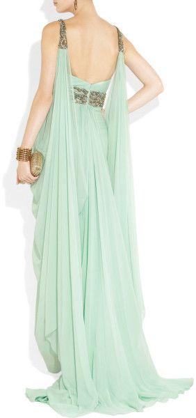Marchesa Crystalembellished Silkchiffon Gown in Green (aqua) - Lyst $4197