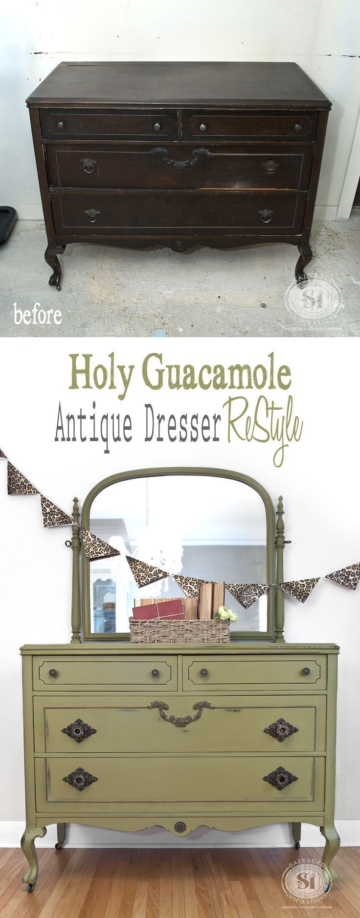 Vintage Dresser gets a makeover with #DixieBelle Paints #HolyGuacamole | Salvaged Inspirations