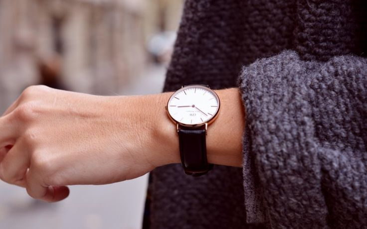 classic black watch + rolled up sleeves #jewelry #accessories