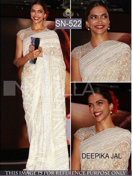 b854b1af62 Deepika In Off White Saree,Georgette saree,row silk saree,Deepika padukone  style party wear saree,buy saree online