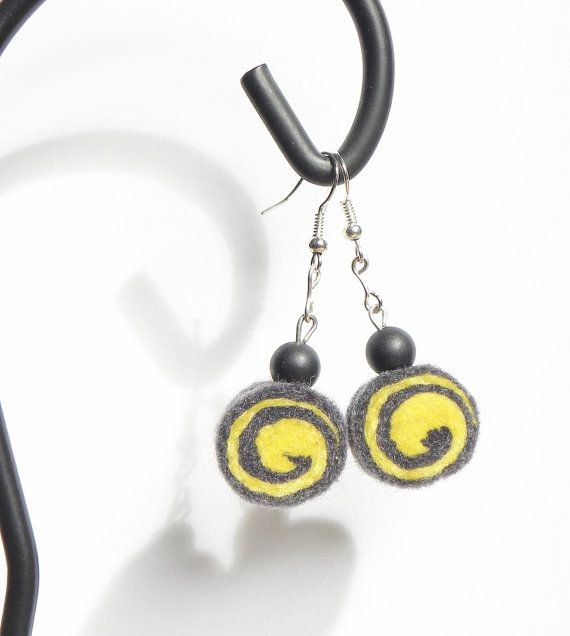 Earrings  unique felted rolls in yellow and dark by MarudaFelting