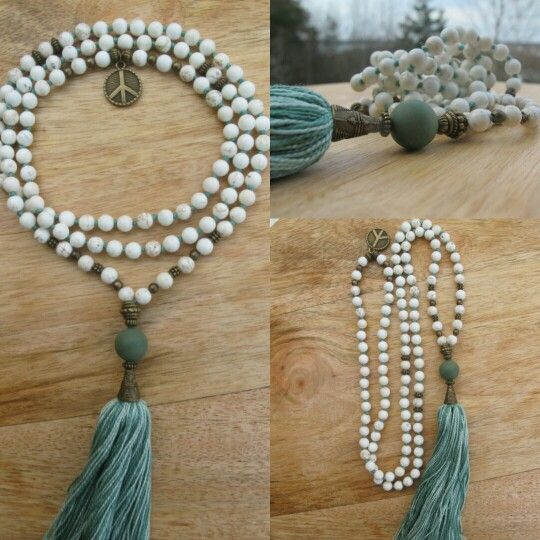 White Turquoise with green tassel, handmade malabead necklace. Peace in the neck.