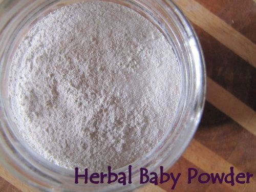 How to Make Herbal Baby Powder  Ingredients:  2 tablespoons dried calendula petals  2 tablespoons dried chamomile petals  ½ cup white cosmetic clay (known as Kaolin clay)  ½ cup arrowroot powder  5-10 drops lavender essential oil