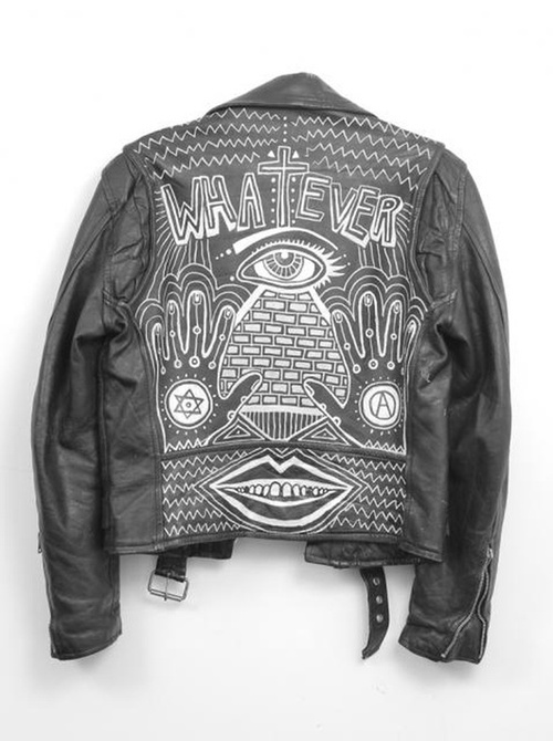 painter leather biker jacket typography lettering hand lettering