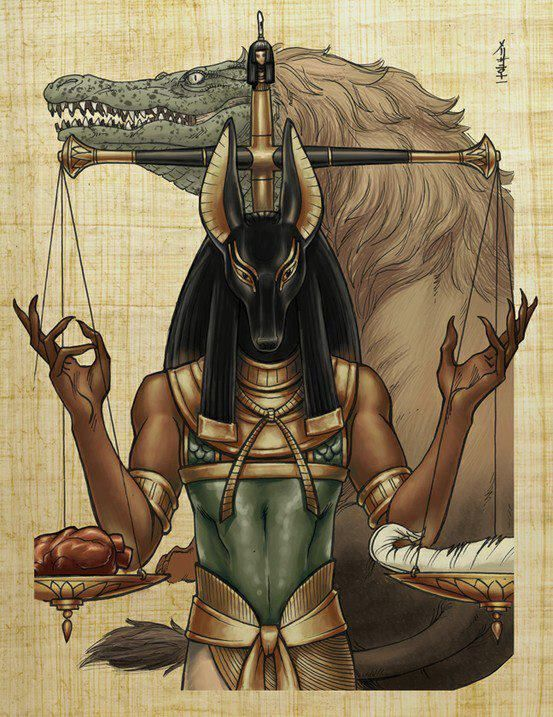 """Anubis guides the souls of the dead and oversees the ceremony of the weighing of the heart. If the """"heart"""" of the dead man is found to be heavier than a feather in death, the man was guilty during his life. His heart would then be fed to the waiting Ammit."""
