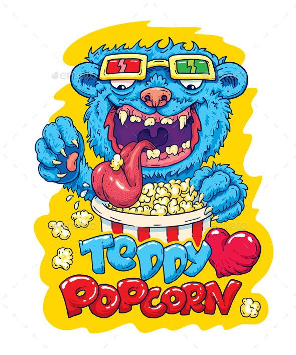 Teddy Loves Popcorn.   Bear Teddy loved popcorn vector illustration for shirts, prints and stickers.  Teddy Bear eats popcorn in your favorite 3D glasses. Teddy bear with a heart sign. Vector file with the ability to edit for your prints.  Presented item is: EPS 10 – vector (resize, recolor, multilayers); PSD – multilayers (smart object), 300 dpi, 3000×4000 px; PNG – fusion object on a transparent background, 3000×4000 px. JPEG – 5000×6000.