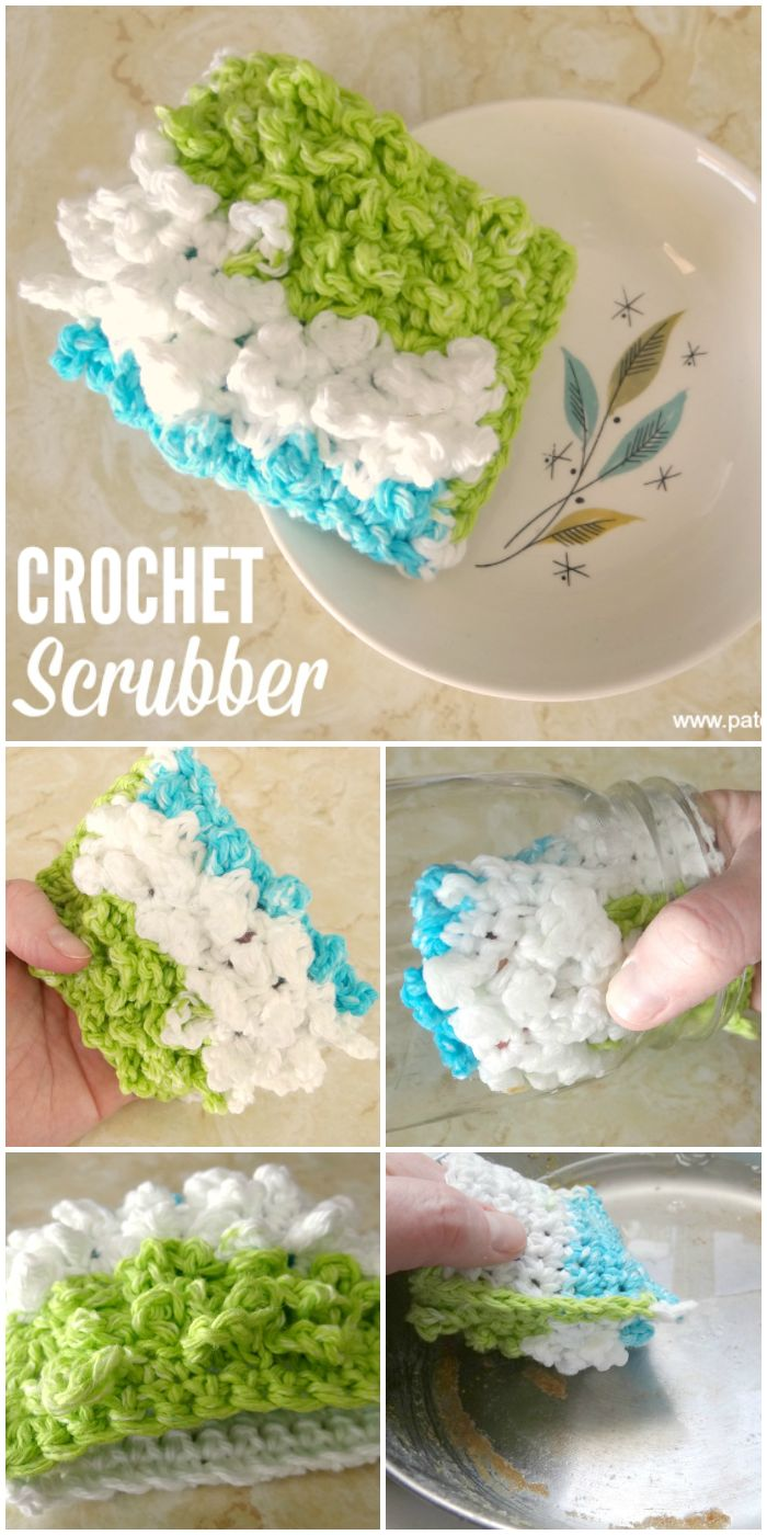 crochet dish scrubber tutorial.  finger pocket so it doesn't slip out from under your hand when scrubbing!  Great for cleaning bottles too.