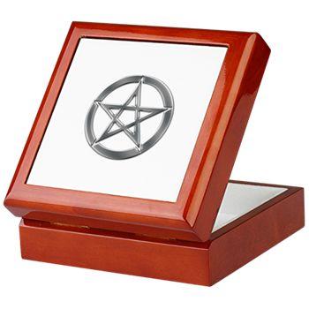 Silver Wiccan Pentacle Keepsake Box