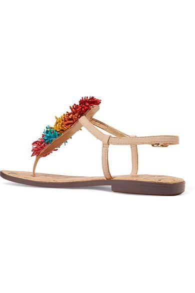 Sam Edelman - Gates Pompom-embellished Leather Sandals - Red - US10.5