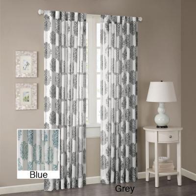 Madison Park Emerson Arabesque Curtain Panel (Grey Polyester)