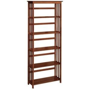 Home decorators collection mission style 29 5 in w walnut 5 shelf bookshelf 2649740850 at the Home decorators collection kelman 3 shelf bookcase in walnut