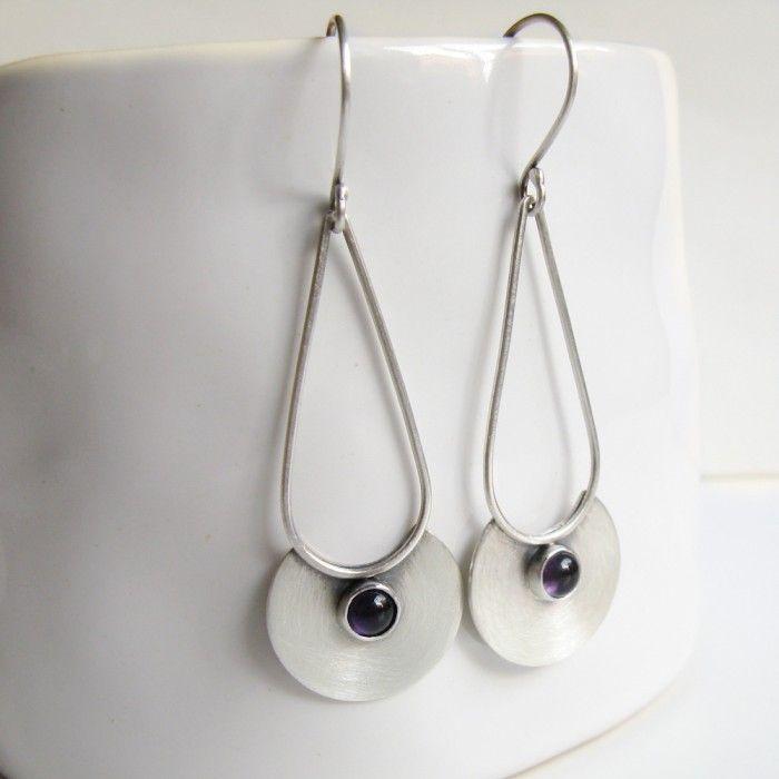 pale moon, amethyst sterling dangle earrings
