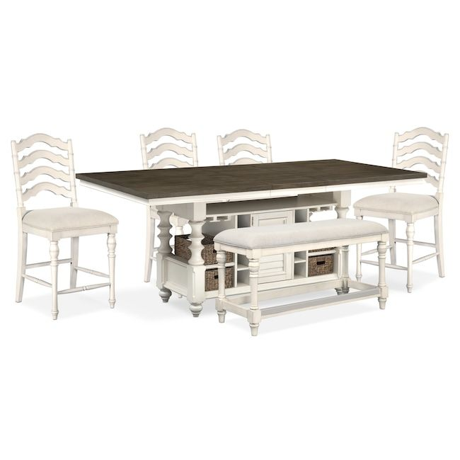 Strange Charleston Counter Height Kitchen Island 4 Stools And Bench Bralicious Painted Fabric Chair Ideas Braliciousco